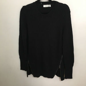 RD STYLE zipper detail elbow patch sweater